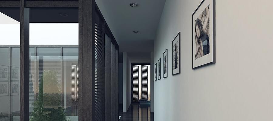 Långa korridorer är perfekt för en galleriupphängning av dina bilder