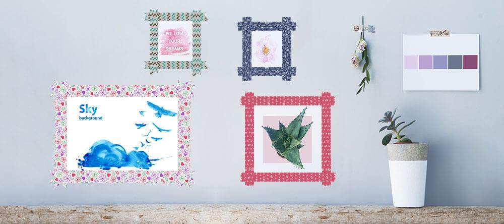 Rama in lite annorlunda: fotoutskrifter fastsatta på väggen med dekorativ tejp
