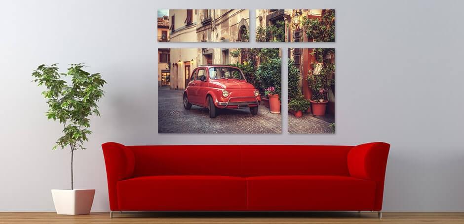 Dela upp din bild, och fokus på bilden, i flera utskrifter i olika storlekar