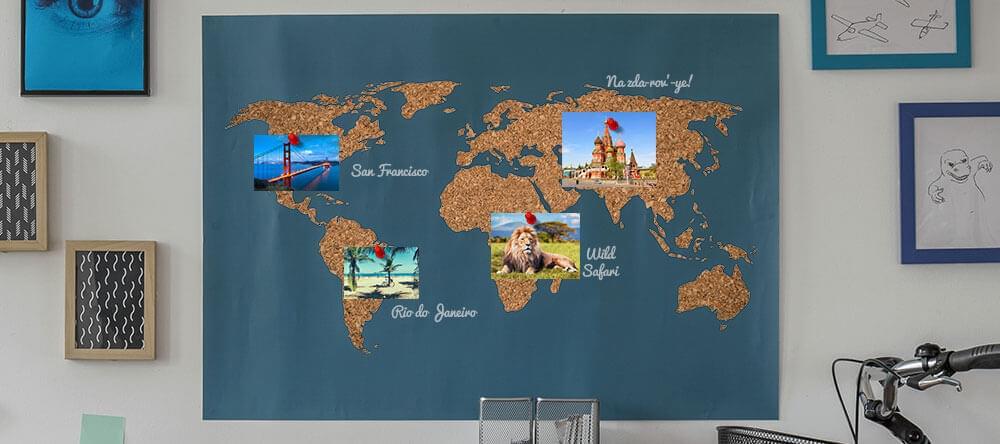 En plats för minnen: Din världskarta gjord av kork