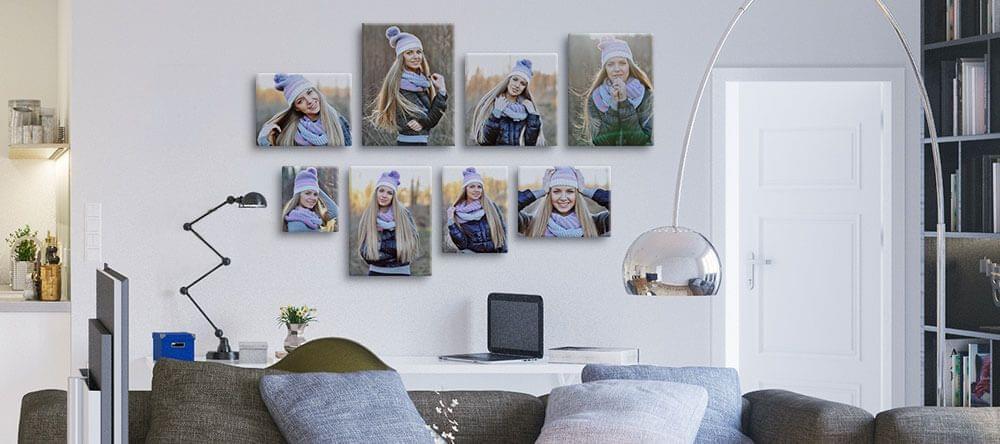 Markeer een centrale lijn en hang uw foto's er langs