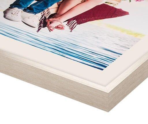 fotolijst met passepartout zilver voorzijde detail