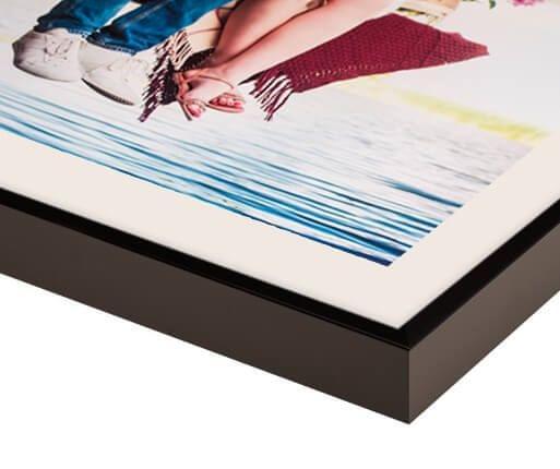 fotolijst met passepartout zwart mat voorzijde detail