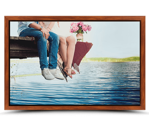 photo on canvas with rosewood flair frame