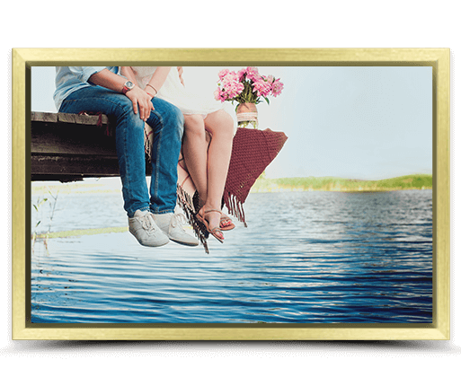 photo on canvas with gold frame