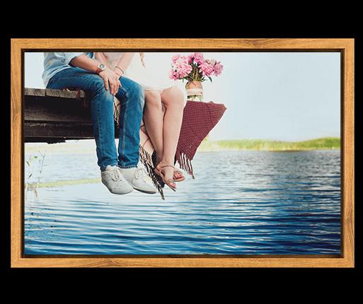 photo on canvas with oak flair frame