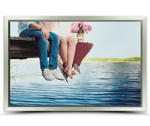 photo on canvas with silver frame