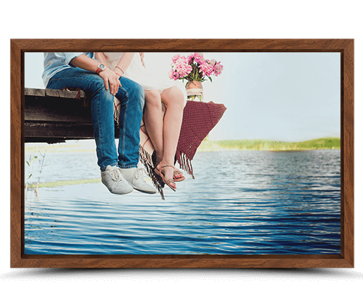 photo on canvas with walnut flair frame