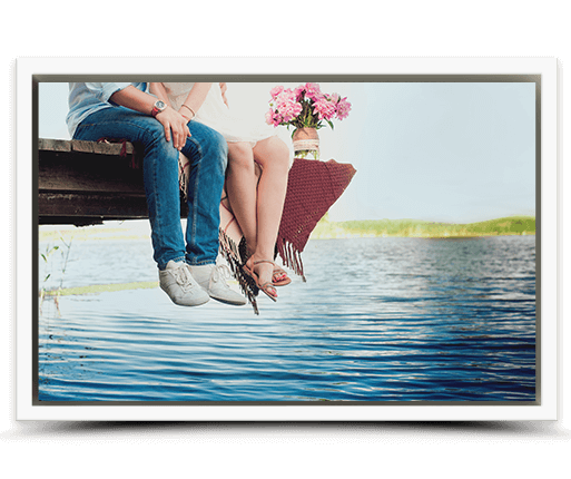 photo on canvas with white frame