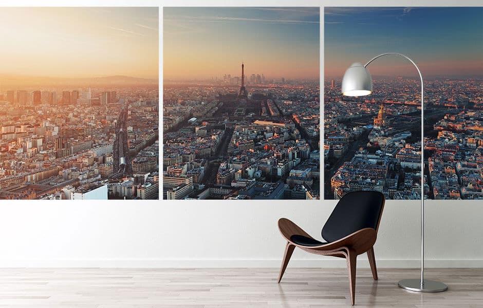 Skyline Paris auf drei großen Drucken