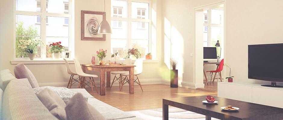 Modern eingerichtete Wohnung an einem sonnigen Tag