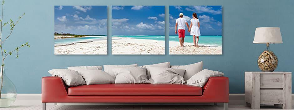 3 teilige Leinwand über dem Sofa