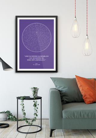 sternenhimmel violett im raum