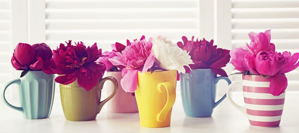 Vasen sind dir zu langweilig? Mit Flaschen oder Tassen liegst du voll im Trend