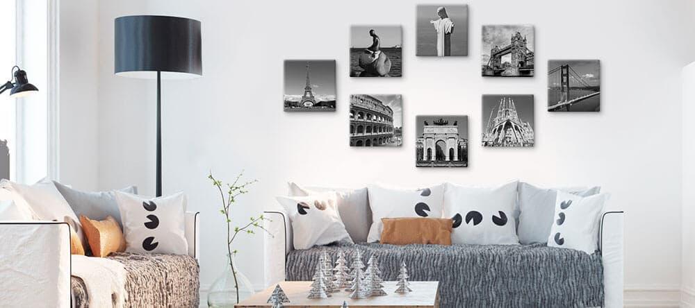 Stell dir eine geometrische Form an deiner Wand vor und hänge deine Bilder wild darin auf