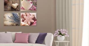 Collage aus vier Leinwanddrucken