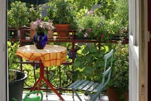 Tisch mit Blumen auf dem Balkon
