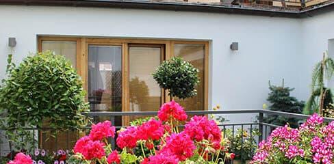 Von Pflanzen umgebener Balkon