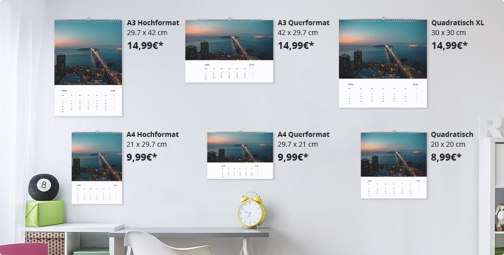 fotokalender in diversen formaten