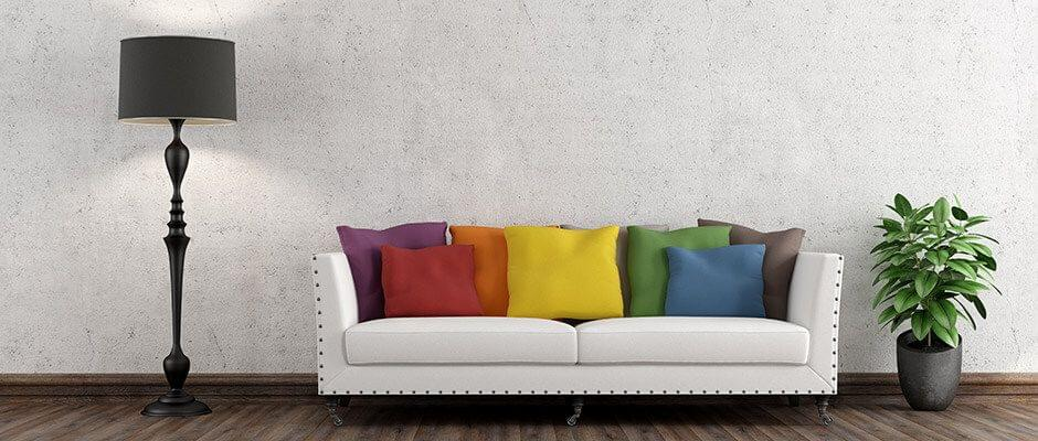 Los cojines llenos de color tienen un efecto increíblemente fuerte.