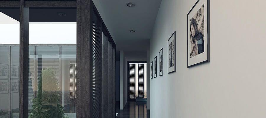 Largos corredores son perfectos para galerías al colgar tus fotos