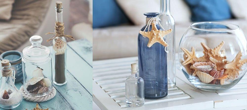 Pequeños frascos, telas o conchas son baratos y tienen un gran efecto