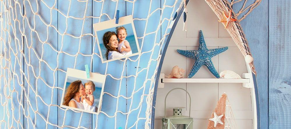 Tus fotos más bonitos de las vacaciones como decoración marina - un gran valor con una red.