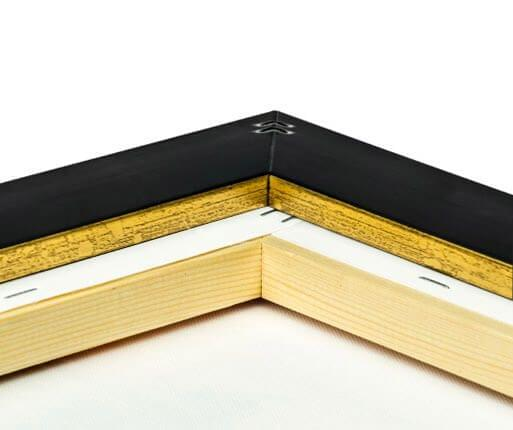 foto lienzo marco premium oro detalle posterior