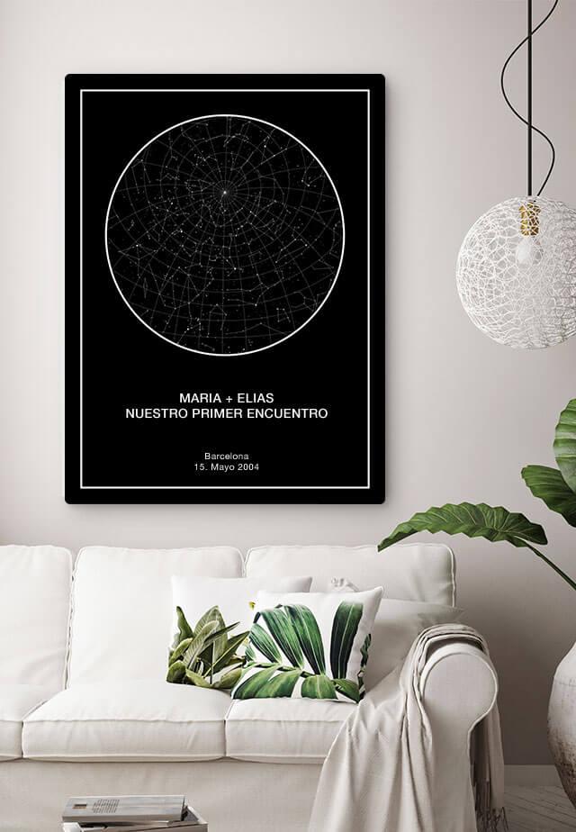mapa estelar personalizado interior